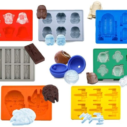 Set of 8 Star Wars Silicone Ice Trays / Chocolate Molds: Stormtrooper, Darth Vader, X-Wing Fighter, Millennium Falcon, R2-D2, Han Solo, Boba Fett, and
