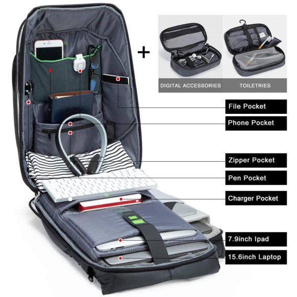 KORIN HiPack Anti Theft Smart Backpack - Inner Compartment Accessories
