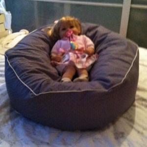 sækkestol med tittekant til baby