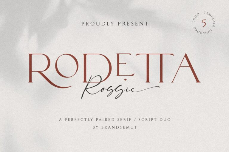 Rodetta Rossie Font Duo + Logos
