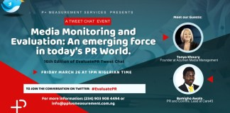 Evaluate PR TweetChat: Measurement And Evaluation Agency Addresses Industry Issues-Brand Spur Nigeria