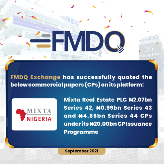 FMDQ Exchange Admits Mixta Real Estate PLC Series 42 - 44 Commercial Papers on its Platform - Brand Spur