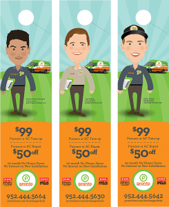 pronto brand door hangers featuring employee caricatures