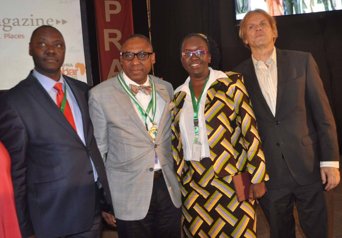 From left: Peter Mutie, outgoing President of the African Public Relations Association (APRA); Yomi Badejo-Okusanya, new APRA President; Ms Jane Gitau, new APRA Secretary General who is also President,  Public Relations Society of Kenya; and Bart de Vries, President of the International Public relations Association (IPRA) after the inauguration of the new APRA Executive at the just concluded APRA Calabar 2016 Conference