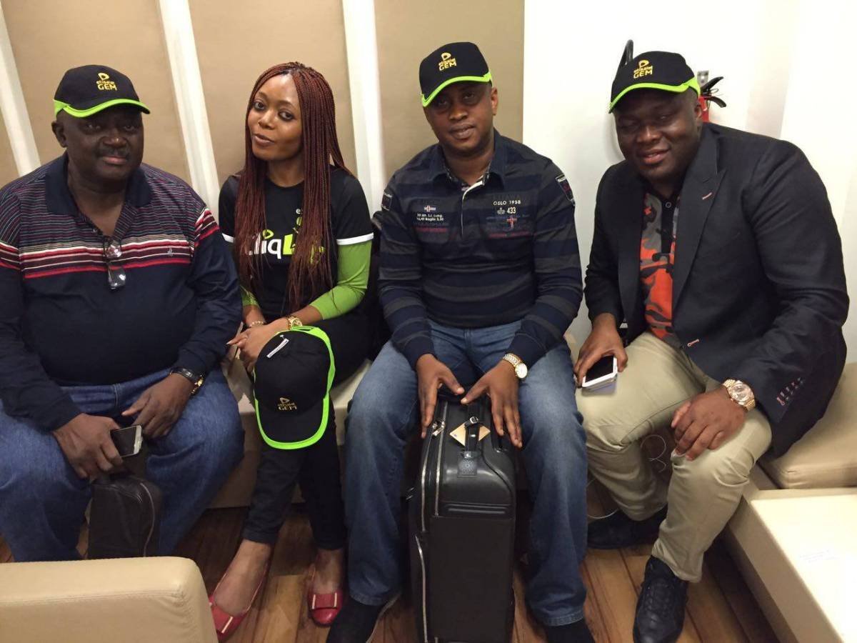 L-R: Etisalat GEM customer, Obasa Idowu; Specialist, Loyalty Management, Etisalat Nigeria, Uzonma Okeahialam; Odimayo Okunjimi John and Agbataekwe Solomon Ifeanyi, both Etisalat GEM customers during an all-expenses paid trip to Milan for GEM customers organised by Etisalat Nigeria recently