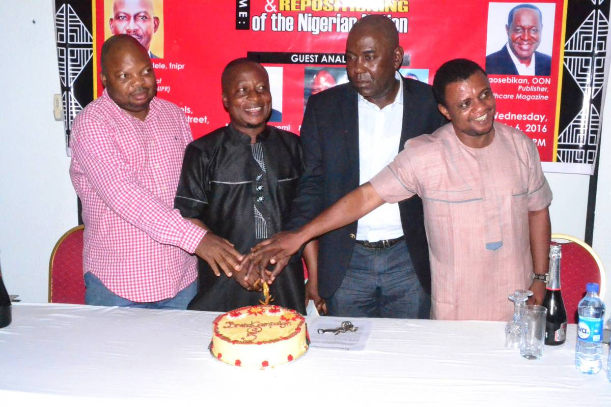 From Left: Mr. Akin Adeoya, Managing Director, MarketingMix, Mr. Akinwumi Dickson, Publisher, Brandcampaign Magazine, Mr. Ikem Okuhu, Managing Director of Brandish and Mr. Goddie Ofose, Chairman Brand Journalists Association of Nigeria (BJAN) at the Brand Campaign 5th anniversary lecture and awards held at ADNA Hotel, GRA- Ikeja, Lagos recently