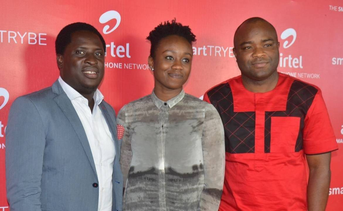 L-R: Communications Manager, Erhumu Bayagbon; Head, Youth Segment, Omoyeme Effiong and Vice President, Network Operations, Adedoyin Adeola, all of Airtel Nigeria, at the Smart Trybe Party held at Victoria Island, Lagos recently.