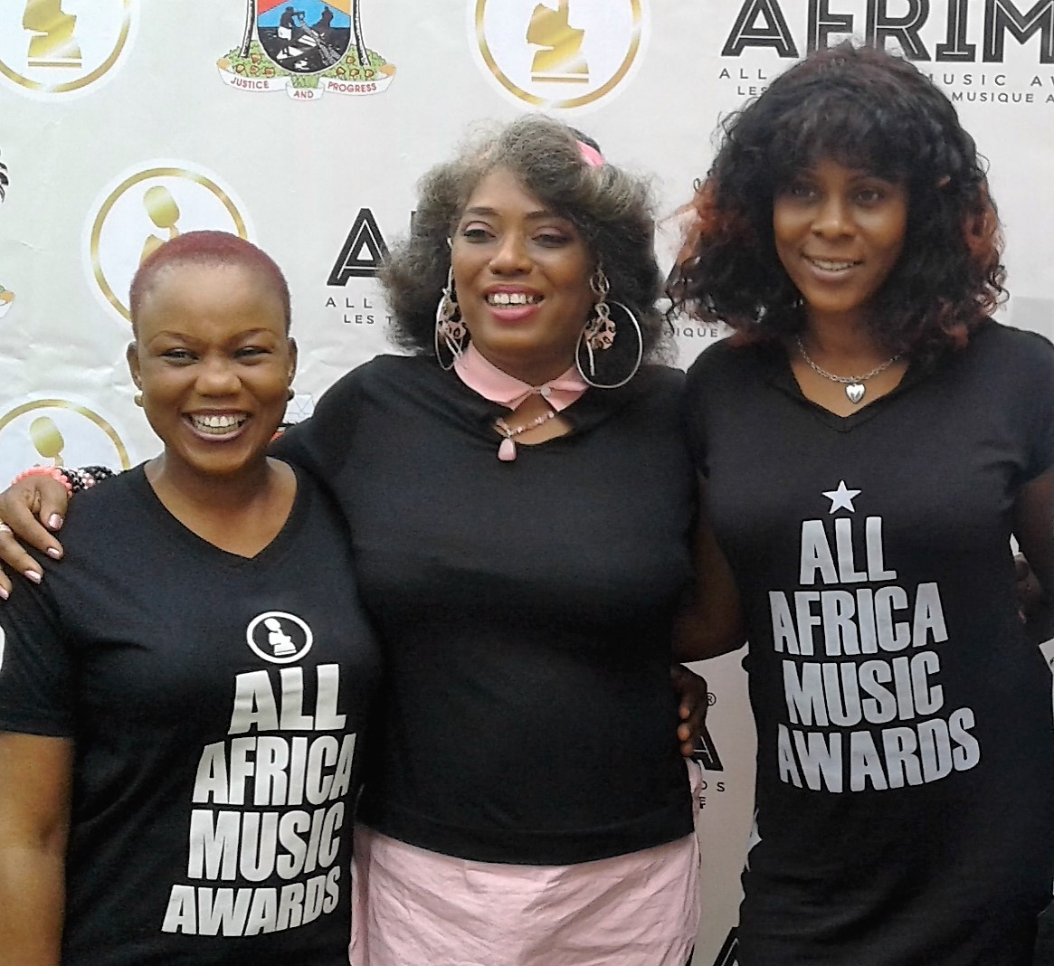 Founder, Felabration and Choreographer, Yeni Kuti (middle), Project Director, AFRIMA, Kemi Ashefon (left) and Associate Producer, AFRIMA, Adenrele Niyi (right) during the partnership agreement between Felabration 2016 and The All Africa Music Awards, AFRIMA 3.0 in Lagos, recently.