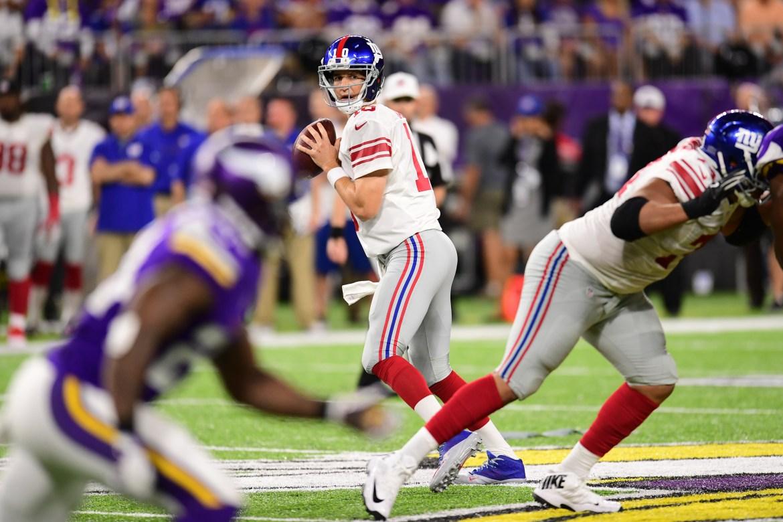 Minneapolis, MN - October 3, 2016 - U.S. Bank Stadium: Eli Manning (10) of the New York Giants during a regular season Monday Night Football game (Photo by Phil Ellsworth / ESPN Images)