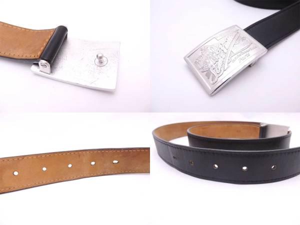 Auth Louis Vuitton Buckle Belt Size 90 36 Black Leather