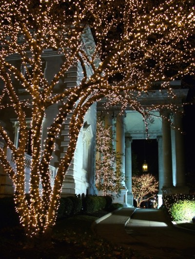 Entrance to the Daughters of the American Revolution Constitution Hall during Christmas in Washington D.C.