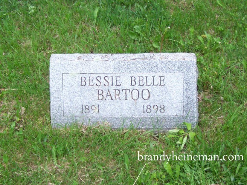 Bessie Belle Bartoo (1891-1898), buried at Whites Corners Cemetery in Harrison Valley PA