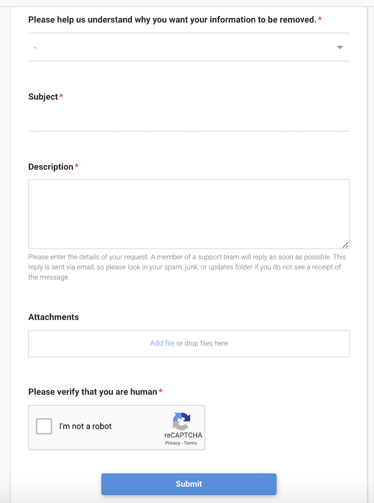second opt out form