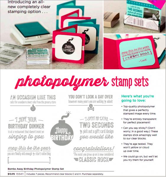 Stampin Up Bombs Away Birthday Photoplymer Stamp Set