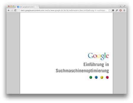 Screenshot Google Optimierung