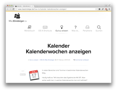 Screenshot Kalenderwochen Apple Mac Kalender