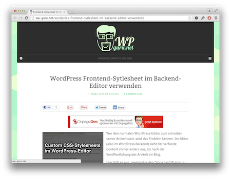 Screenshot Screenshot Frontend Stylesheet im Backend Editor