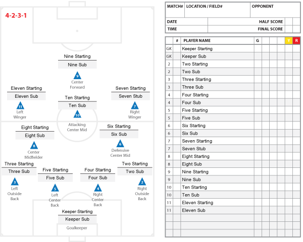 High School Soccer Lineup Sheet 11v11 4-2-3-1 Players and