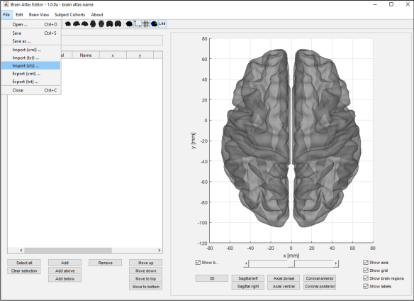 Figure 2: Importing a brain atlas saved as an Excel file into GUIBrainAtlas.
