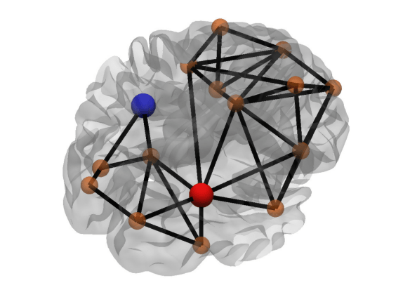 Figure 5: Betweeness centrality of a node. The red node has a high betweeness centrality (many shortest paths that connect the nodes from left to right pass through the red node), while the blue node has a low betweeness centrality (no shortest path passes through the blue node).