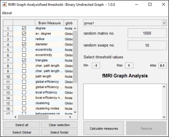 Figure 3: Interface to calculate group measures normalized by comparison with random graphs.