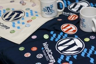 Brindes do WordCamp - Design por Diego Rojas