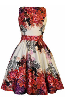 Lady V London Red Rose Cream Tea Dress