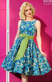 Pin Up Girl Clothing Maria Dress in Blue Olive Green