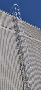 Galvanized Steel Roof Ladder w/ Cage