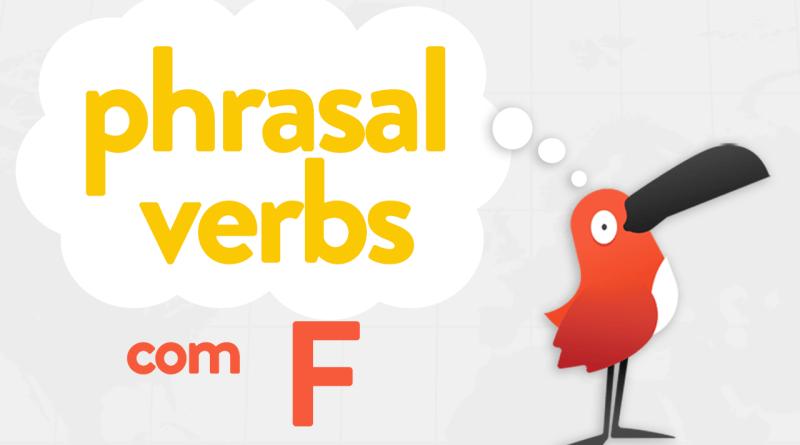 Passarinho apresentando Phrasal Verbs com a letras F