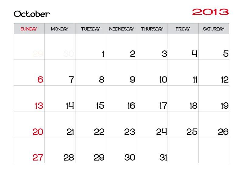 calendário com datas em inglês
