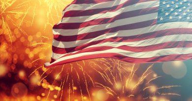 História do 4th of july americano - queima de fogos