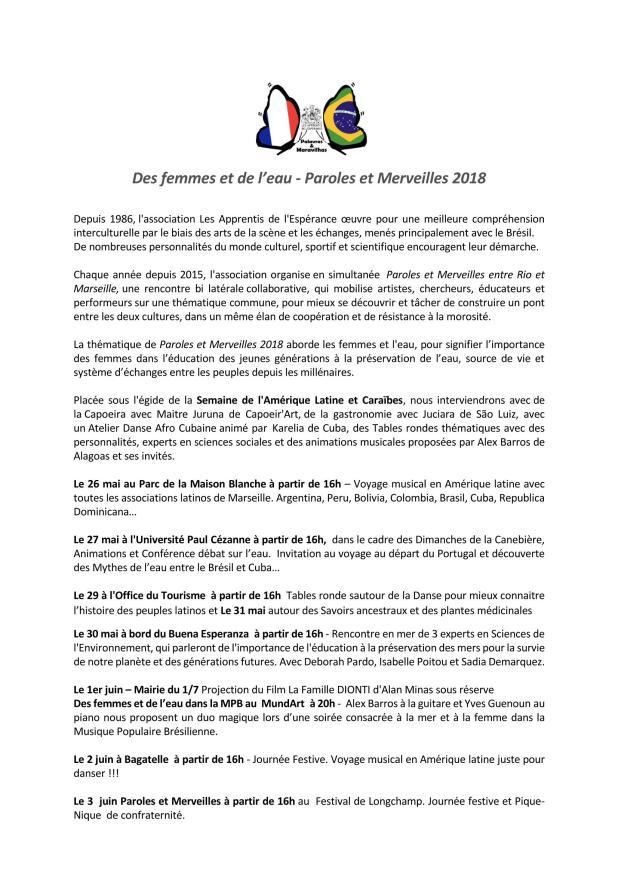 Paroles et merveilles entre Rio et Marseille 2018