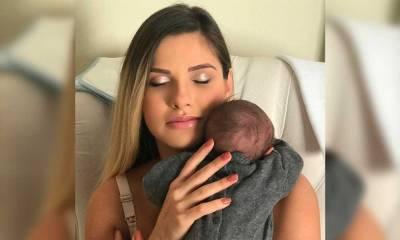 """Andressa Suita posa com o filho recém-nascido e se derrete: """"O melhor de mim"""""""
