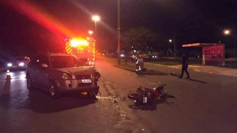 Motociclista fica ferido após bater em carro no Paranoá