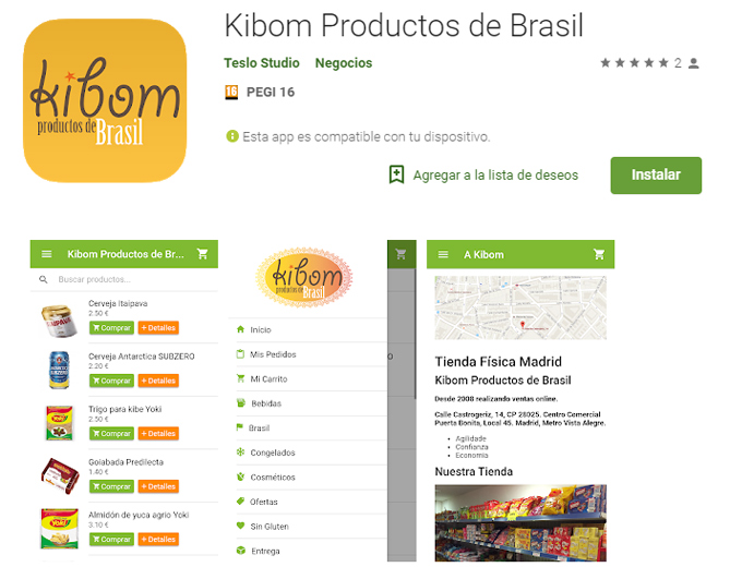 Aplicativo da Kibom no Google Play da Android.
