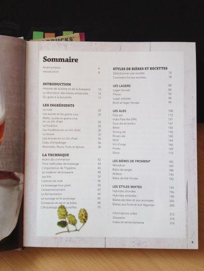 Le sommaire du livre pour brasseur amateur Faire sa Bière Maison