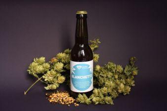 Blanchette bière au blé photo avec houblon -étiquettes bière artisanale - Micro-Brasserie du Vallon