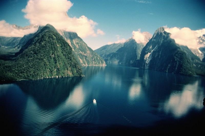 New Zealand,South Island,Fiordland, Milford Sound,Mitre Peak behind