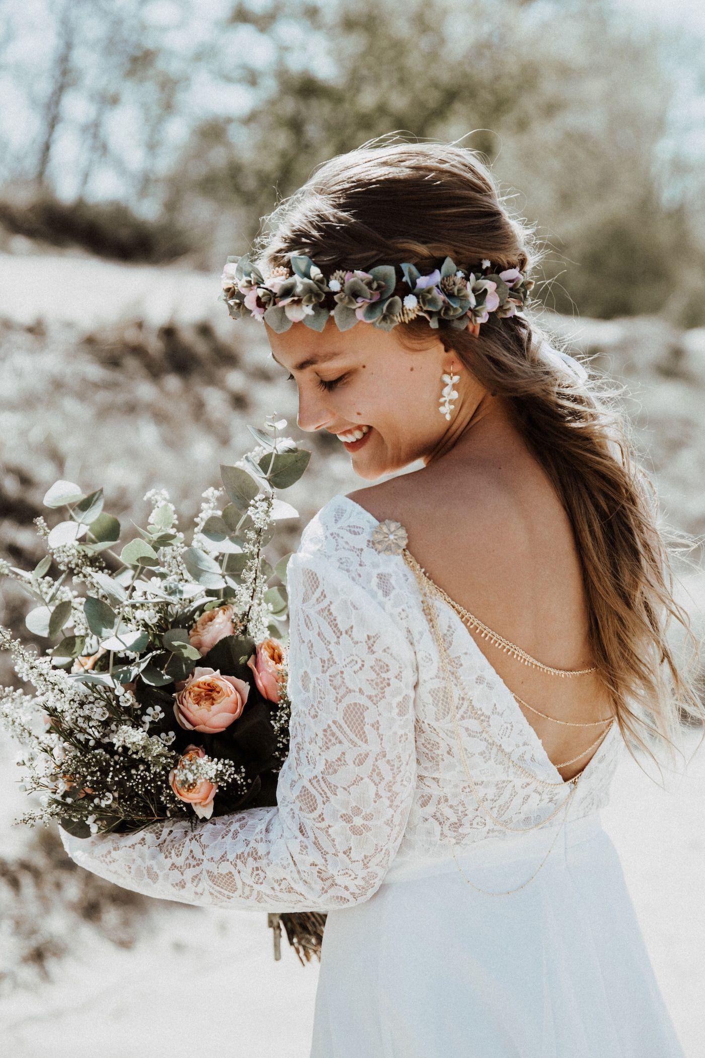 Hochsteckfrisuren Hochzeit Blumenkranz