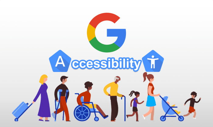 Google Accessibility with 9people icons of various ages and disabilities