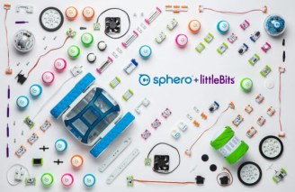 Sphero + litlebits logos surrounded by their products