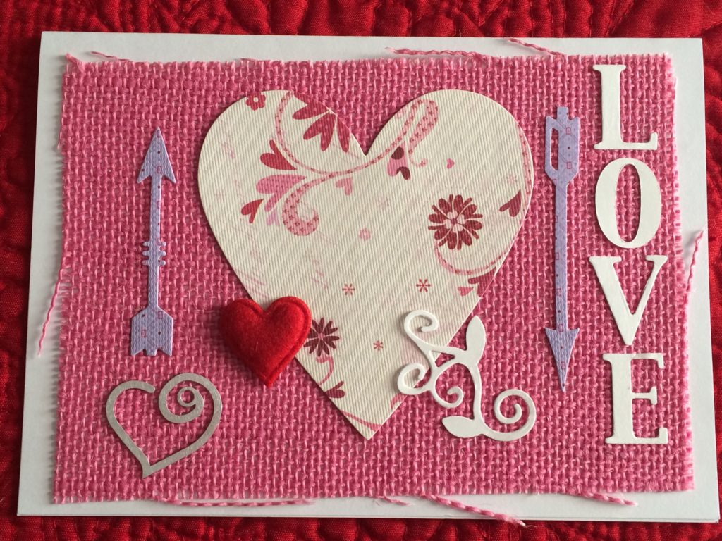 Handmade Bohemian Valentine's Day cards_Love Burlap card