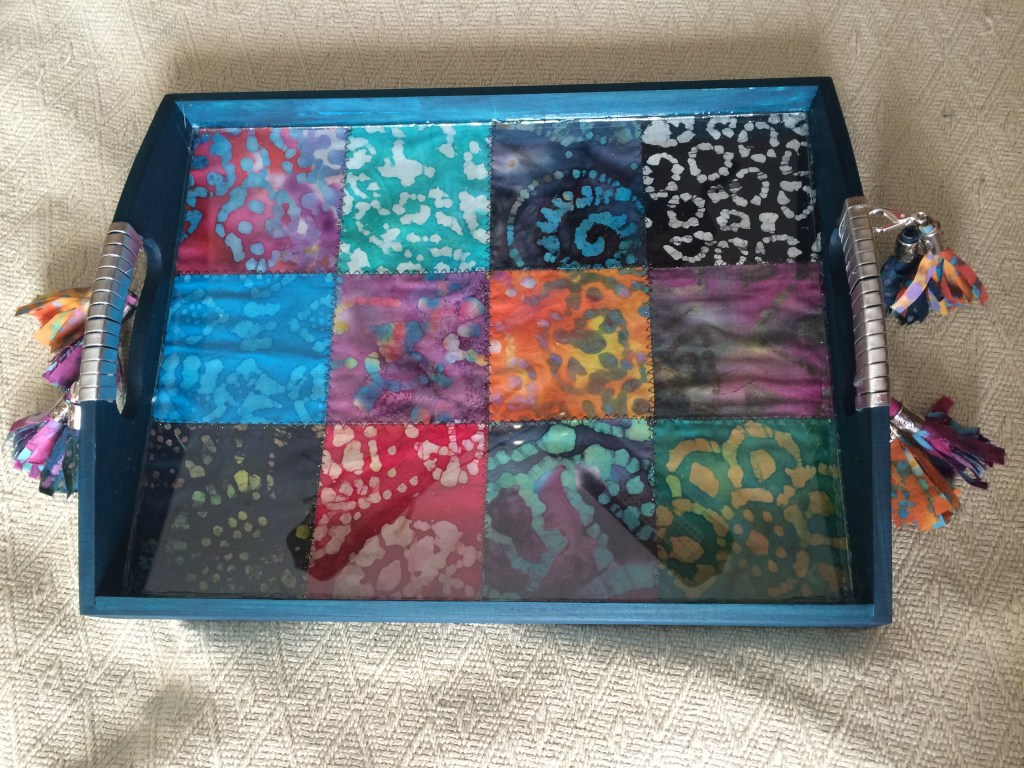 Final look at Boho Tray with glass and batik fabric inlay