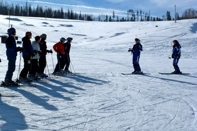 An adult ski school class at Granby Ranch, Colorado.