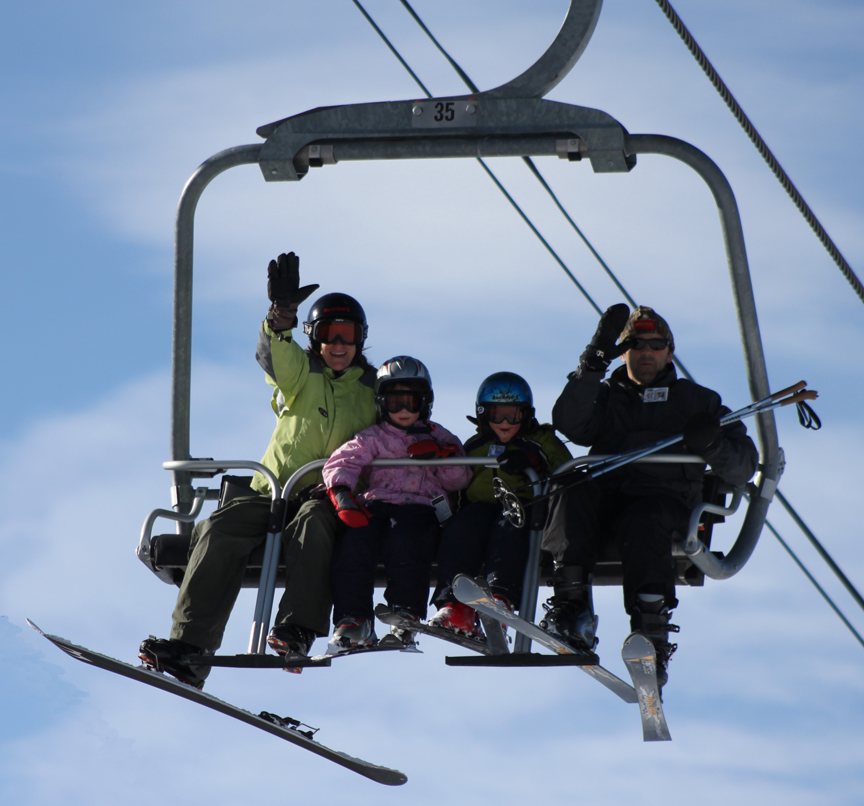Family on lift ski granby ranch