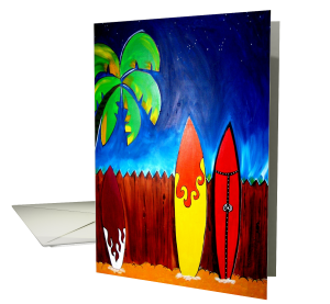 surfing greeting card