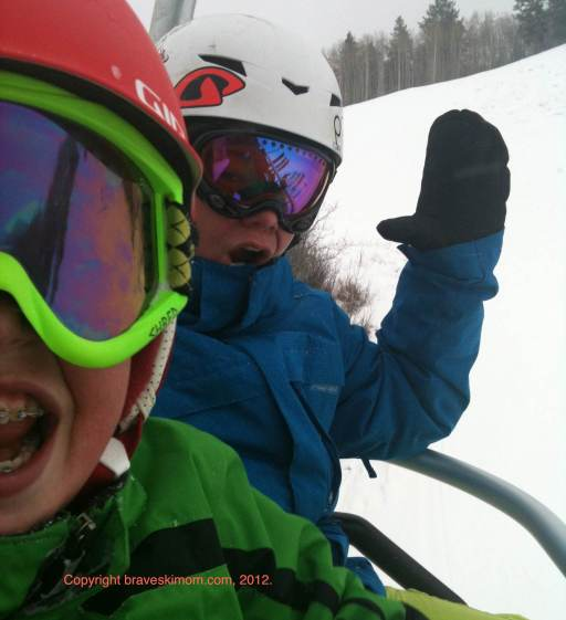 boys in ski helmets buttermilk colorado