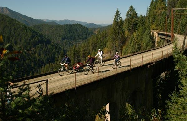 family biking the route of the hiawatha in idaho