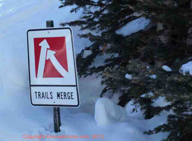 trails merge sign durango mountain resort
